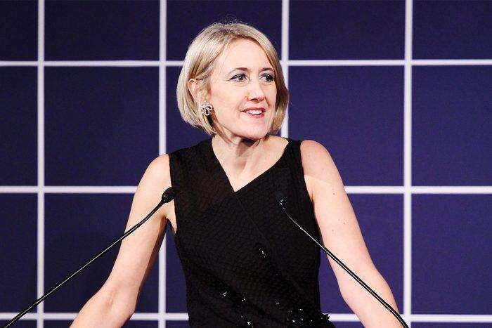 Caroline Baumann at podium