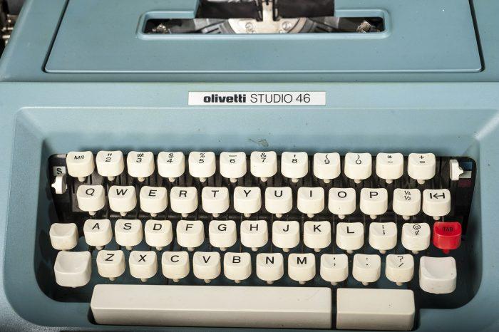 Blue olivetti typewriter