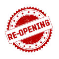 Red graphic with Re-Opening
