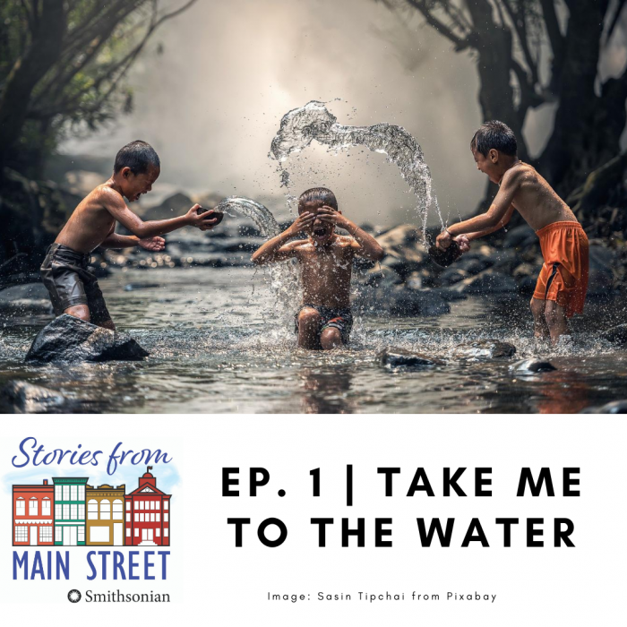 "Promo image for podcast ""Take me to the water"""