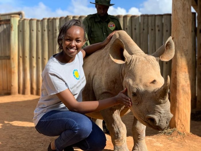 Maureen Kamau with baby rhino