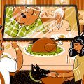 illustration of a family eating Thanksgiving dinner in front of computer screen