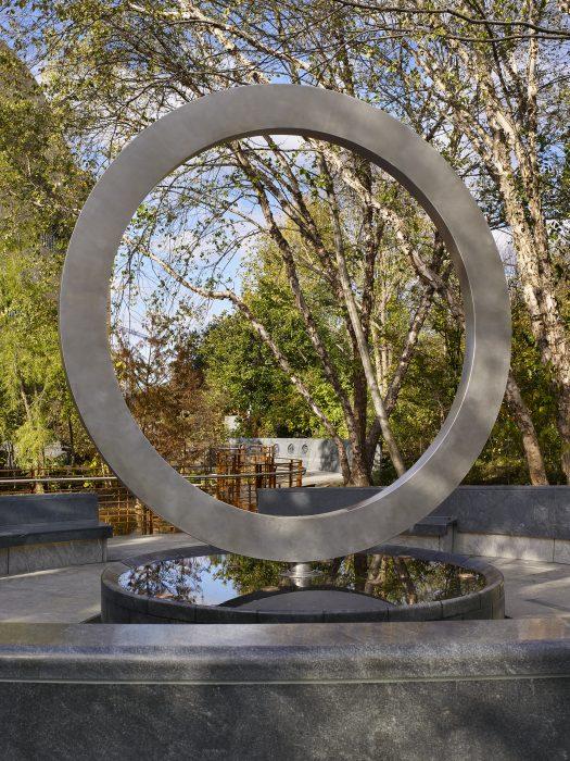 Close up of circular memorial