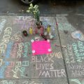 Sidewalk with memorial BLM messages