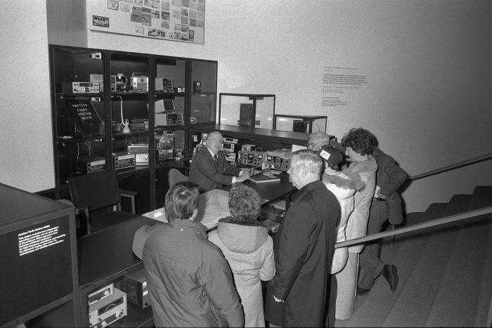 Black and white photo of ham radio demonstration