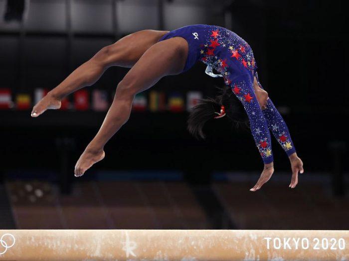 Gymnast Simone Biles performing a routine