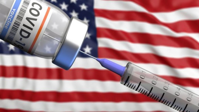 Needle being injected into vaccine vial with US flag in the background